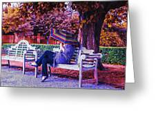 On A Bench Under An Umbrella In Autumn Greeting Card