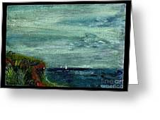 On A Bluff Over The Sea Looking At Sailboats Greeting Card by Cathy Peterson