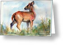 On Second Thought Greeting Card by Maria's Watercolor