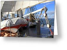 On The Deck Of A Sailing Ship Greeting Card