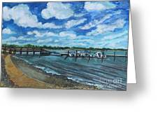 On The Dock In Great Harbors Greeting Card