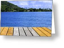 on the dock in Tahiti Greeting Card
