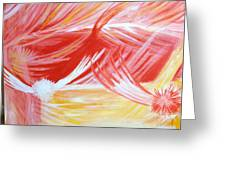 On The Flaming Wings Of Angels Greeting Card