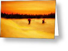 On The Pond With Dad Greeting Card by Desmond Raymond