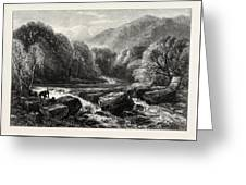 On The River, Lledr, Wales, Uk, Great Britain Greeting Card