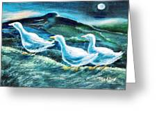 On The Run By Moonlight Greeting Card