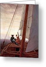 On The Sailing Boat Greeting Card