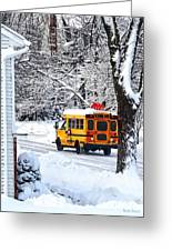 On The Way To School In Winter Greeting Card