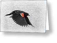 On The Wing - Red-winged Blackbird Greeting Card