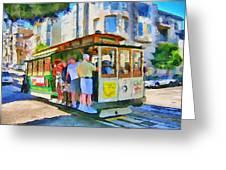 On Tram In San Francisco Greeting Card by Yury Malkov