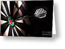 One Arrow In The Centre Of A Dart Board Greeting Card