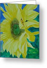 One Bright Sunflower Colorful Original Art Floral Flowers Artist K. Joann Russell Decor Art  Greeting Card
