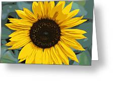 One Bright Sunflower - Digital Art Greeting Card