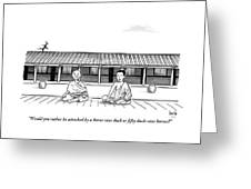 One Buddhist Monk Asks Another While Meditating Greeting Card