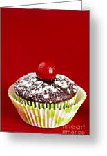 One Chocolate Cupcake With Cherry Over Red Greeting Card