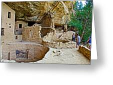 One End Of Spruce Tree House On Chapin Mesa In Mesa Verde National Park-colorado Greeting Card