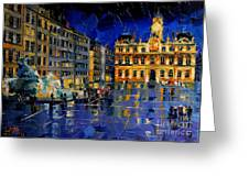 One Evening In Terreaux Square Lyon Greeting Card
