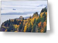 One Foggy Fall Day At Crown Point Greeting Card