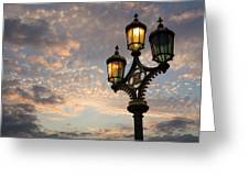 One Light Out - Westminster Bridge Streetlights - River Thames In London Uk Greeting Card