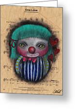 One Love Clown Greeting Card