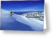 One Man Skiing In Powder High Greeting Card