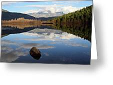 One Mile Lake One Rock Reflection Pemberton B.c Canada Greeting Card