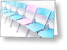 One Pink Chair In A Row Of Blue Chairs Greeting Card