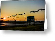 One Plane Landing At O'hare Greeting Card