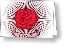 One Red Rose With Thorns On White Greeting Card