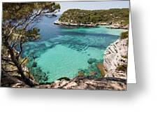 One Step To Paradise - Cala Mitjana Beach In Menorca Is A Turquoise A Cristaline Water Paradise Greeting Card