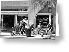 One Sunday On Main Street - Homeless Man - Black And White Greeting Card