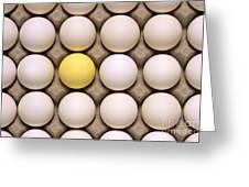 One Yellow Egg With White Eggs Greeting Card