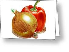 Onion And Red Pepper Greeting Card