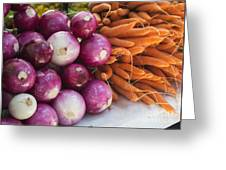 Onions And Carrots Greeting Card