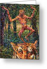 Only A Crazy Monkey Dances On A Tiger's Head Greeting Card by James W Johnson