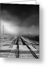 Onward - Railroad Tracks - Fog Greeting Card