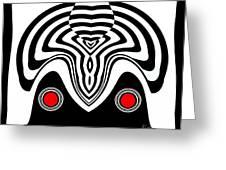 Op Art Black White Red Minimalist Art No.233. Greeting Card by Drinka Mercep