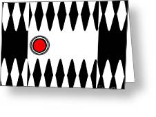 Op Art Black White Red Minimalist Geometric Abstract Print No.277 Greeting Card by Drinka Mercep