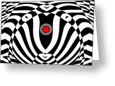 Op Art Geometric Black White Red  Abstract No.383. Greeting Card by Drinka Mercep