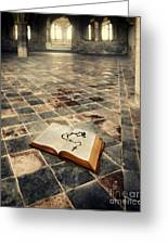 Open Book And Roasary On The Floor Greeting Card