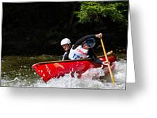 Open Canoe Whitewater Race - Panorama Greeting Card