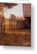 Open Gate By Cottage Greeting Card