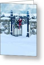 Open Gate In Snow With Wreath Greeting Card