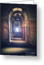 Open Gate To Prison Hallway Greeting Card