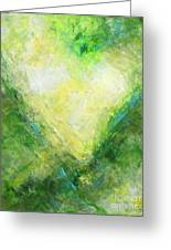 Open Heart Green Abstract Urban Heart Painting Greeting Card