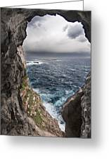 A Natural Window In Minorca North Coast Discover Us An Impressive View Of Sea And Sky - Open Window Greeting Card