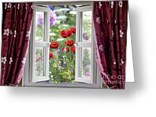 Open Window View Onto Wild Flower Garden Greeting Card