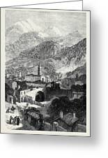 Opening Of The Mont Cenis Tunnel The Town Of Susa 1871 Greeting Card