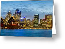 Opera House And Buildings Lit Greeting Card