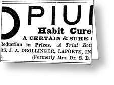 Opium Habit Cure, 1877 Greeting Card